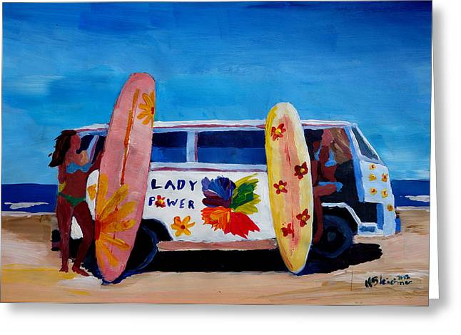 The Vw Volkswagen Bulli Series - The Lady Power Surf Bus Greeting Card by M Bleichner