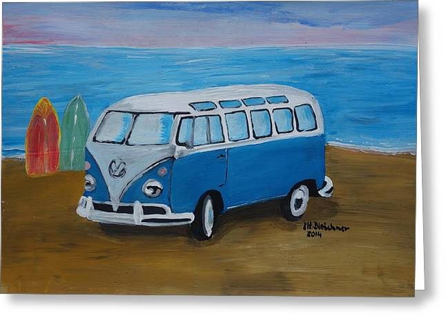 The Vw Volkswagen Bulli Series -the One With Surf Boards Greeting Card by M Bleichner