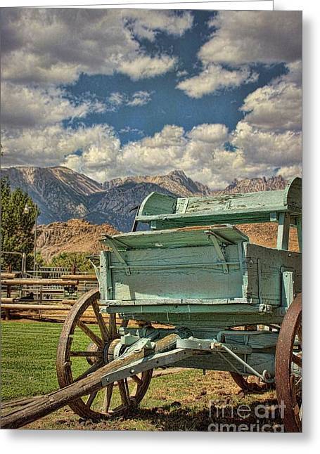 The Wagon Greeting Card by Peggy Hughes