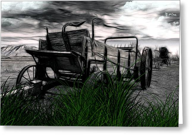 Greeting Card featuring the mixed media The Wagon by Tyler Robbins