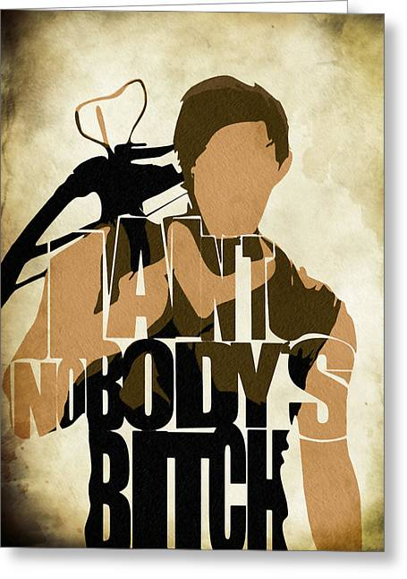 The Walking Dead Inspired Daryl Dixon Typographic Artwork Greeting Card by Ayse Deniz
