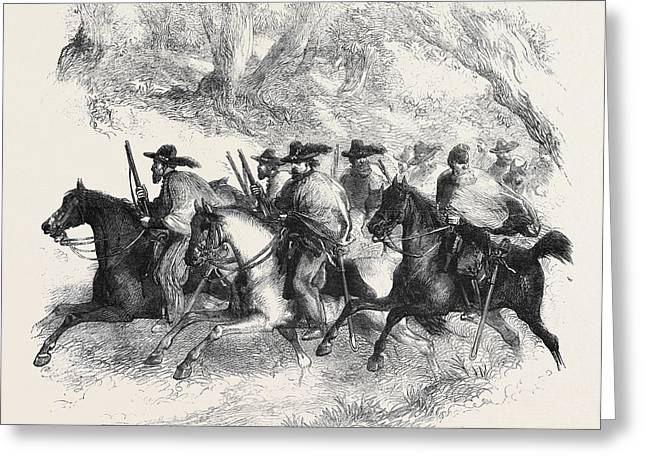 The War In America Texan Rangers Federalists Reconnoitring Greeting Card