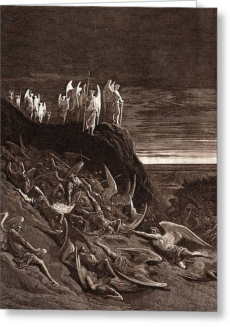 The War In Heaven, By Gustave DorÉ. Gustave Dore Greeting Card