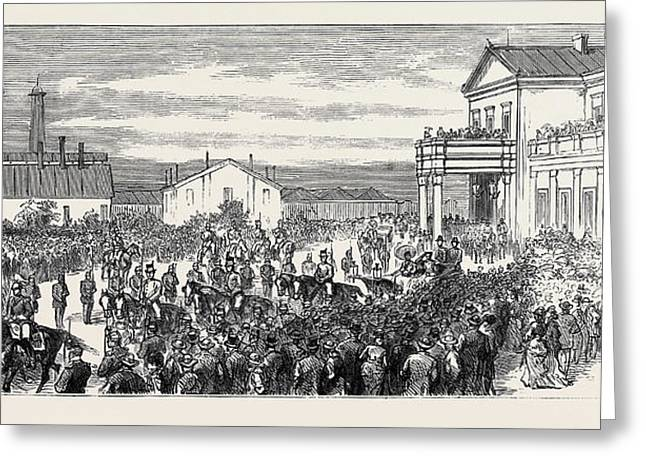 The War In The East, Arrival At Bucharest Of The Grand Duke Greeting Card by English School
