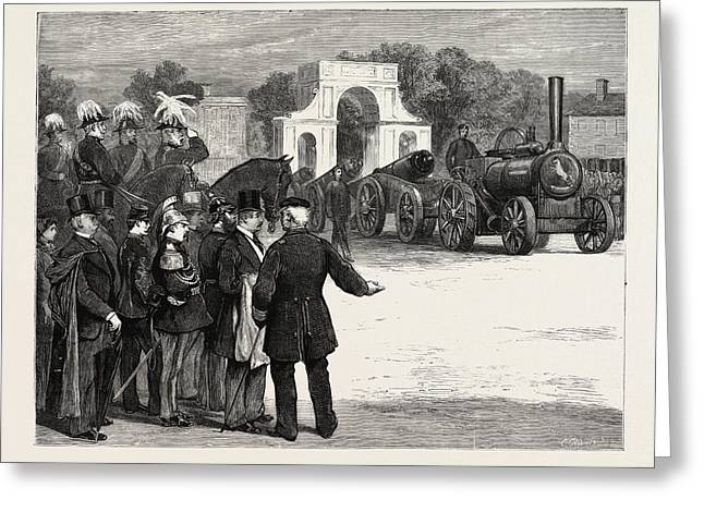 The War Of The Future Steam Sappers Marching Past At Chatham Greeting Card
