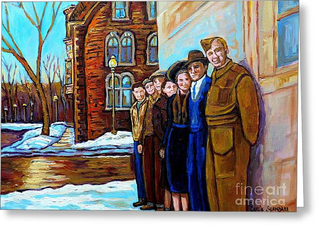 The War Years 1942 Montreal St Mathieu And De Maisonneuve Street Scene Canadian Art Carole Spandau Greeting Card