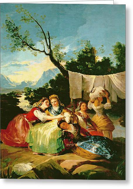 The Washerwomen, Before 1780 Oil On Canvas Greeting Card
