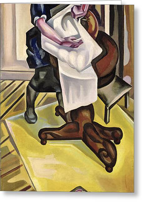 The Washing, Before 1921 Oil On Canvas Greeting Card by Maria Blanchard