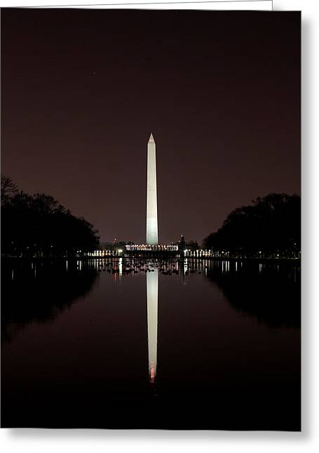 The Washington Monument - Reflections At Night Greeting Card
