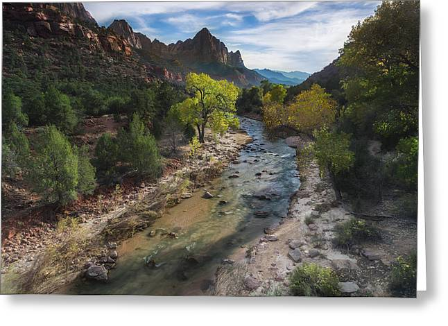 The Watchman In Zion National Park Greeting Card by Larry Marshall