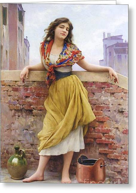 The Water Carrier Greeting Card by Pg Reproductions