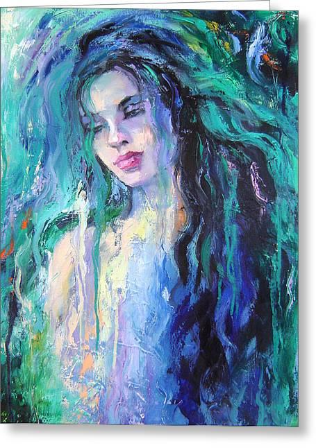 The Water Greeting Card by Nelya Shenklyarska