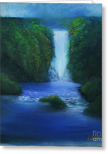 The Waterfall Greeting Card by David Kacey