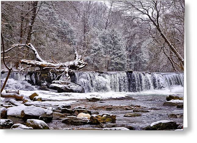 The Waterfall Near Valley Green In The Snow Greeting Card by Bill Cannon