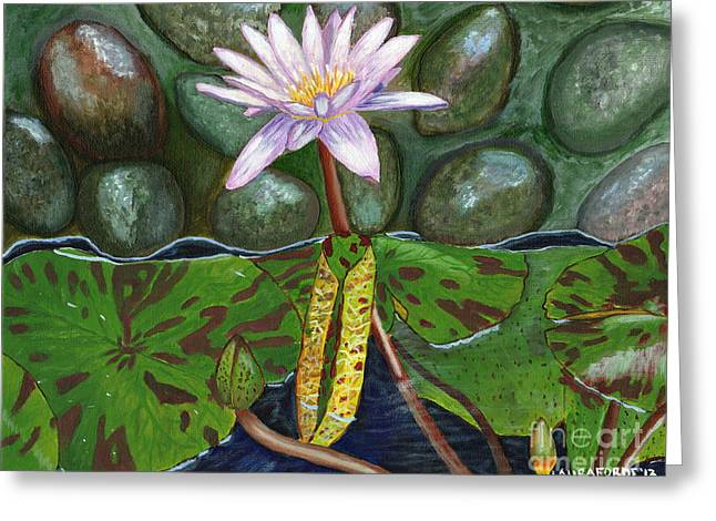 Greeting Card featuring the painting The Waterlily by Laura Forde