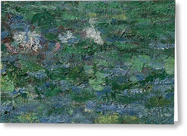 The Waterlily Pond Green Harmony Greeting Card by Claude Monet