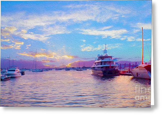 The Waters Are Calm Painting  Greeting Card by Jon Neidert