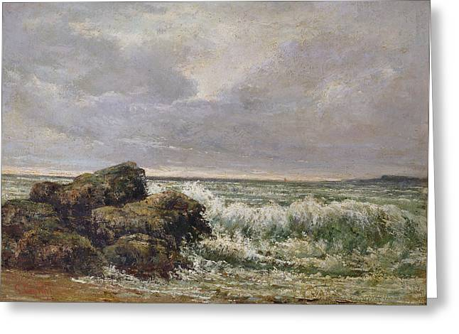The Wave, 1869 Oil On Canvas Greeting Card by Gustave Courbet