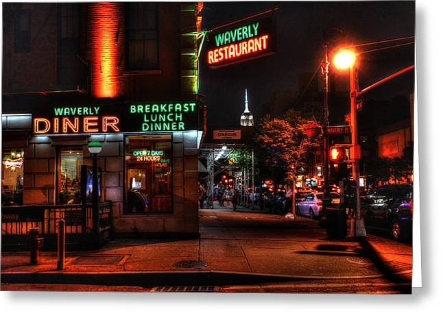 The Waverly Diner And Empire State Building Greeting Card by Randy Aveille