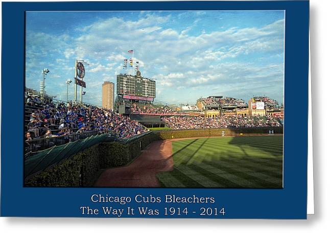 The Way It Was  Chicago Cubs Bleachers Textured Greeting Card by Thomas Woolworth