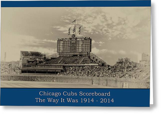 The Way It Was Chicago Cubs Scoreboard Heirloom Greeting Card by Thomas Woolworth