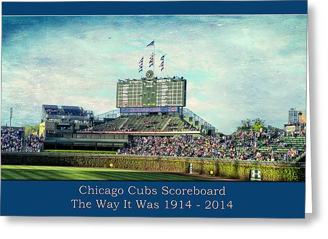 The Way It Was Chicago Cubs Scoreboard Textured Greeting Card by Thomas Woolworth