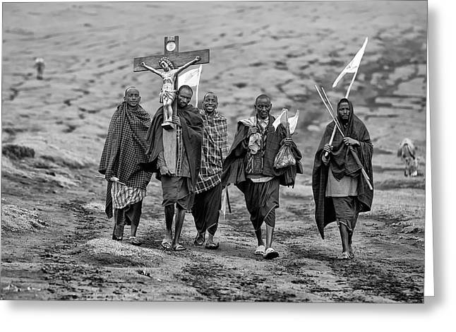 The Way Of The Cross Greeting Card by Goran Jovic