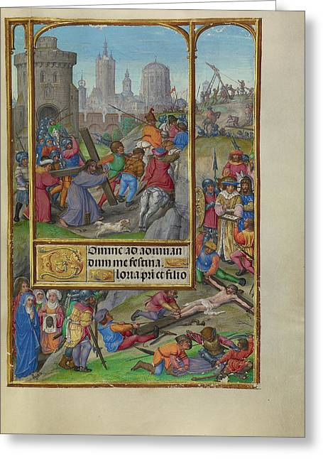 The Way To Calvary Master Of James Iv Of Scotland, Flemish Greeting Card