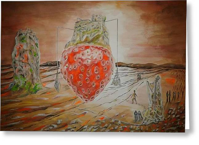 The Way To Strawberry Meteora Greeting Card by Esztella Sandor