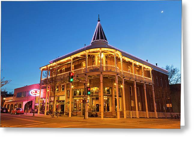 The Weatherford Hotel At Dusk Greeting Card