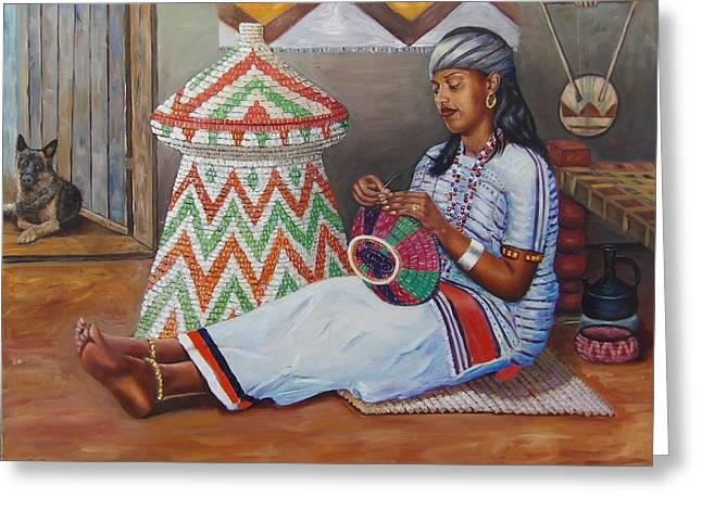 The Weaving Lady Greeting Card
