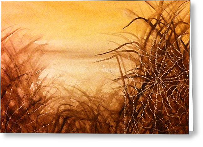 The Web At Dawn Greeting Card by Karen  Condron