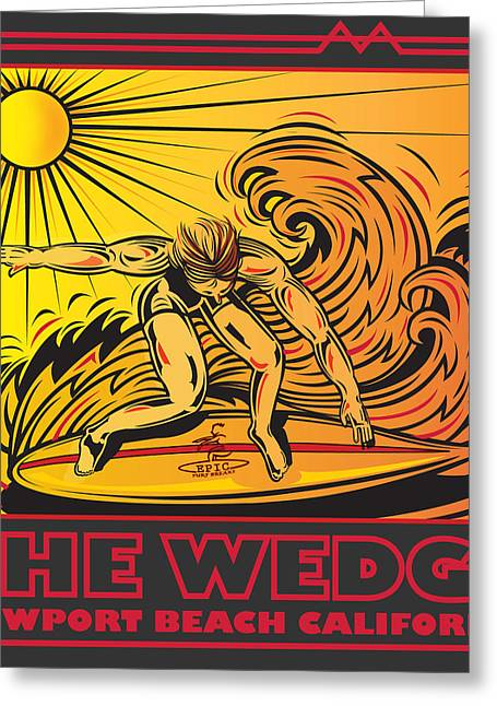 The Wedge Newport Beach California Greeting Card by Larry Butterworth
