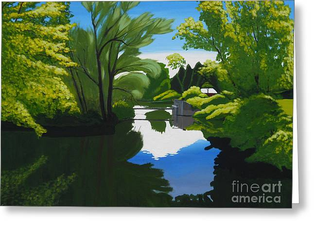 Greeting Card featuring the painting The Weir At Oaks Creek Crossing by Robert Coppen