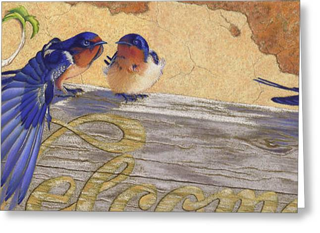 The Welcome Committee Greeting Card by Tracy L Teeter