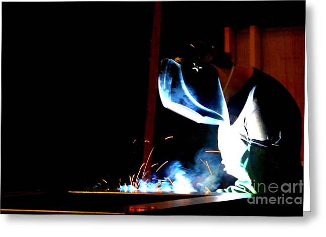 The Welder Greeting Card by Shelia Kempf