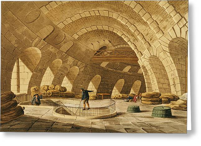 The Wheat Store, Rue De Viarmes, Engraved By I. Hill Coloured Engraving Greeting Card by John Claude Nattes