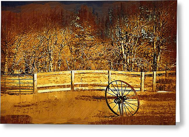 The Wheel And The Fence Greeting Card