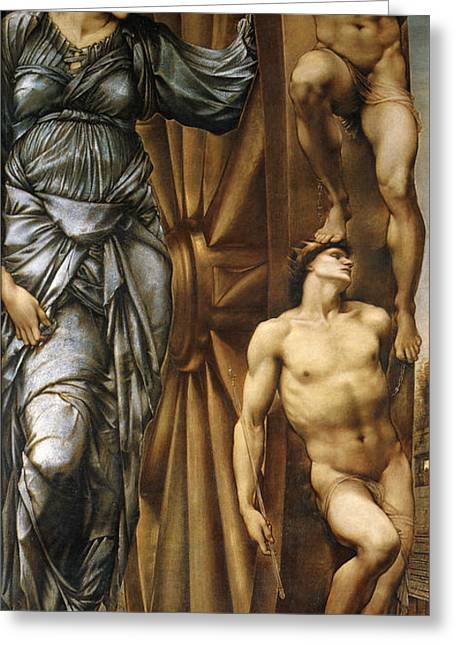 The Wheel Of Fortune Greeting Card by Edward Burne Jones