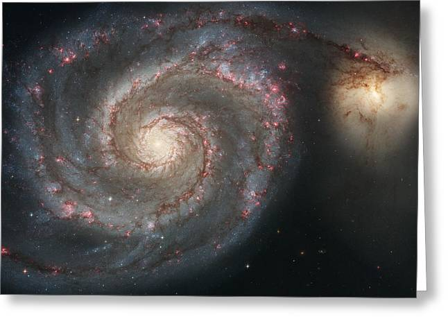 The Whirlpool Galaxy M51 And Companion Galaxy  Greeting Card
