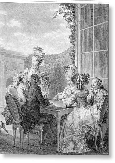 The Whist Party, 1783, Engraved By Jean Greeting Card by Jean Michel the Younger Moreau