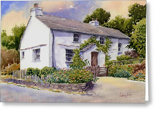 The White Cottage Greeting Card by Anthony Forster