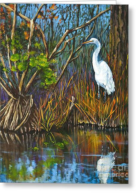 The White Heron Greeting Card by Dianne Parks