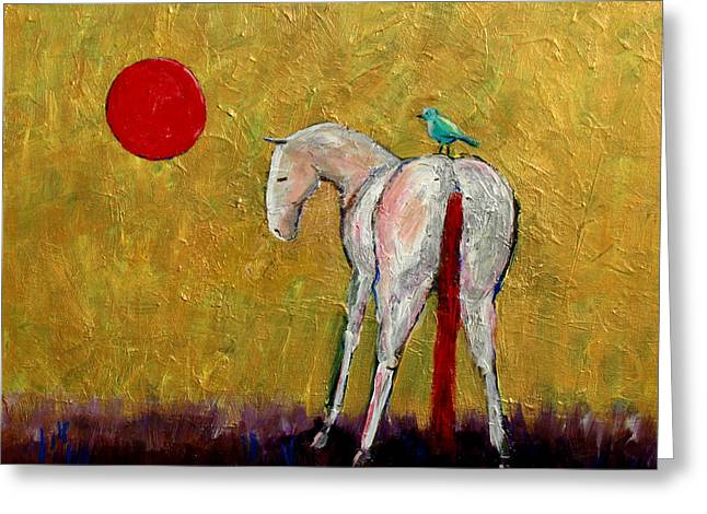 The White Horse And The Blue Bird Of Happiness Greeting Card