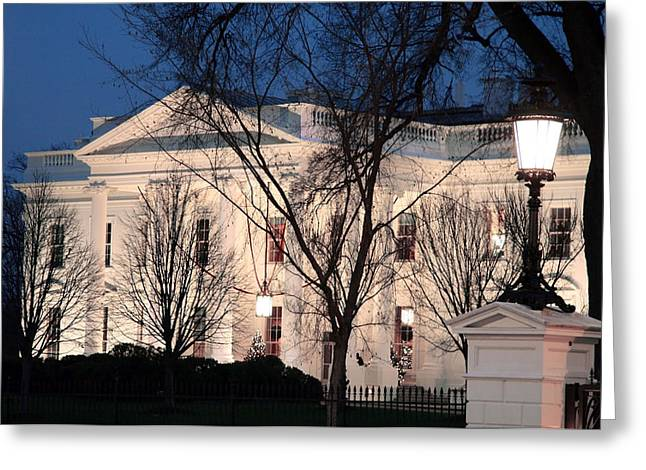 Greeting Card featuring the photograph The White House At Dusk by Cora Wandel