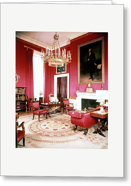 The White House Red Room Greeting Card by Tom Leonard