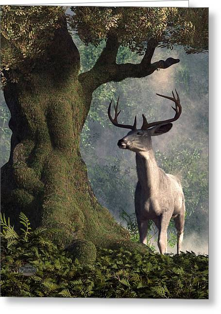 The White Stag Greeting Card by Daniel Eskridge