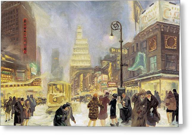 The White Way Greeting Card by John Sloan