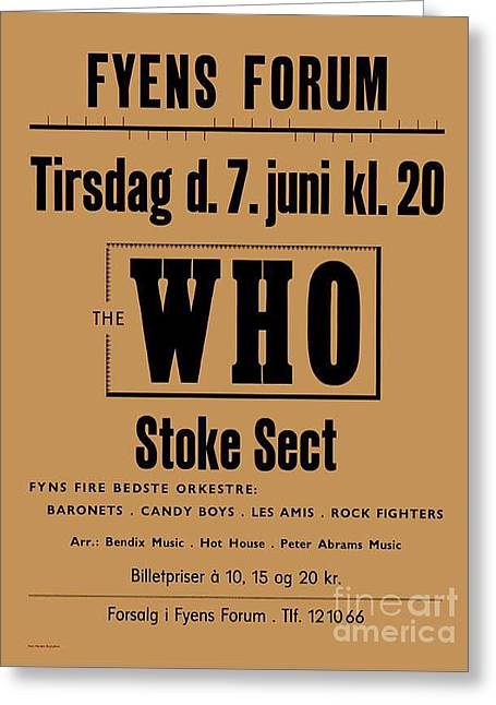 The Who And Support Stoke Sect 1966 Greeting Card by Kim Lessel