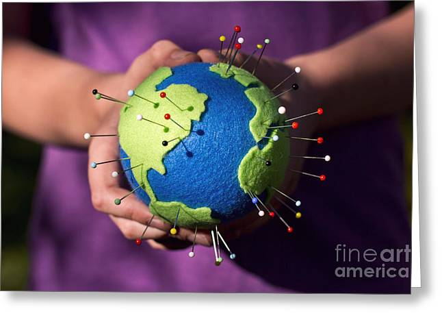 The Whole World In Your Hands Greeting Card by Catherine MacBride